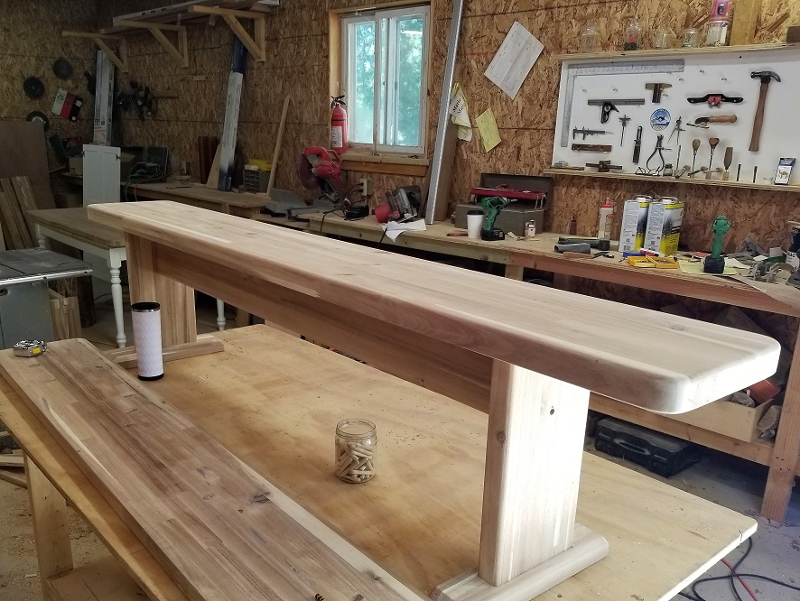 A close up the the butcher block bench